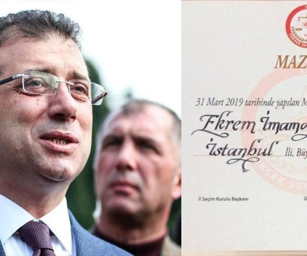 İstanbul bələdiyyəsinin sədri mandatı Əkrəm İmamoğluna təqdim edilib