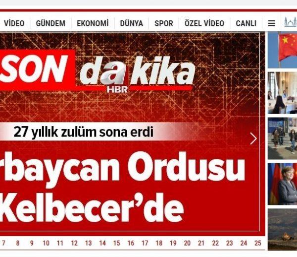 Azərbaycan Ordusunun Kəlbəcərə daxil olması Türkiyə mediasının baş xəbəridir