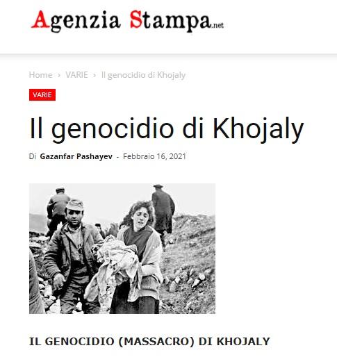 """İtaliyanın """"agenziastampa.net"""" xəbər portalında """"Xocalı soyqırımı"""" sərlövhəli məqalə yerləşdirilib."""