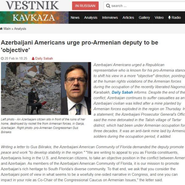 ABŞ-dakı Azərbaycan diasporu ermənipərəst konqresmeni ədalətli mövqe tutmağa çağırıb