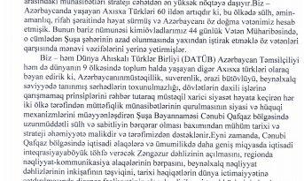 Ahıska Türkləri qədim mədəniyyət paytaxtında imzalanmış Şuşa Bəyannaməsini alqışlayırlar
