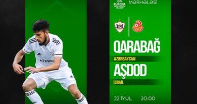 """UEFA: """"Qarabağ"""" Tofiq Bəhramov adına Respublika Stadionunda İsrailin """"Aşdod"""" klubunu qəbul edəcək"""